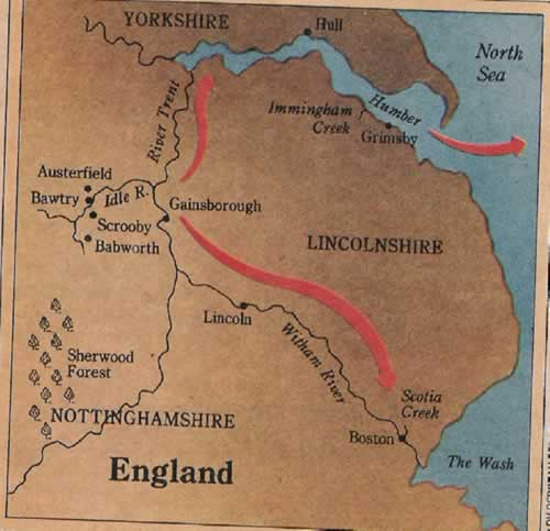 Scrooby England Map.The Saga Of The Pilgrims Page 1